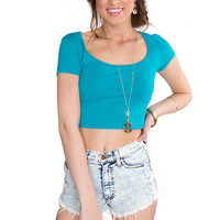 Lucy Basic Crop Top - Teal