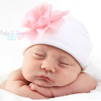 SAVE 15% Newborn Beanie / Baby Beanie / Girls Hat / Infant Beanie /  White Pink Addison flower and Cotton Beanie TWO SIZES