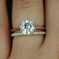 Skinny Webster & Kimberly 14kt Rose Gold FB Moissanite Six-Prong Webbed Engagement Ring (Other metals and stone options available)