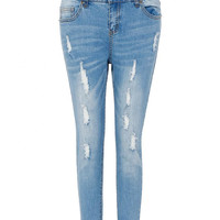 Blue Button and Zipper Design Jeans With Distressed Detail