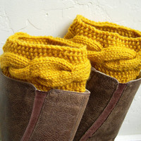 Mustard Boot cuffs - Yellow Leg Warmers - Cable knit boot toppers - Winter Fashion - Cozy legwarmers - Winter Acessory - Fall Fashion 2013