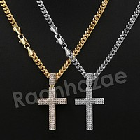 "14K Pt Gold Round CLASSIC JESUS CROSS Pendant W/5mm 24"" 30"" Cuban Chain"