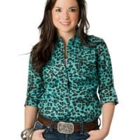 Ariat® Women's Turquoise and Brown Leopard Print Long Sleeve Western Shirt