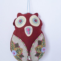 Hand Sewn Owl Wall Hanging Decor, Baby Nursery Kids Room Wall decor, Children room decor, Embroidered Owl Wall decor, Felted Hand  Made Owl