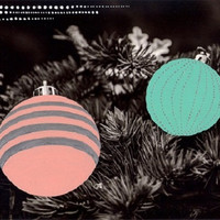 black and white photo, christmas decoration, hand colored photo of christmas baubles