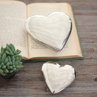 Set of 2 Aluminum Heart Boxes - Antique Silver