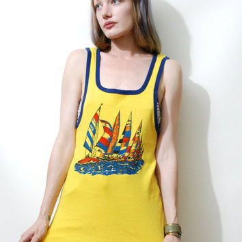 TANK TOP 70s Vintage Sailboat SINGLET Boat Print Motif Yellow w/ Navy Piping Sleeveless Shirt Vest Retro Kitsch Hippie 1970s vtg S-L Unisex