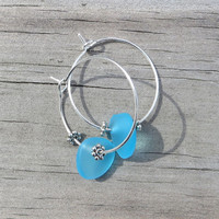 Sea Glass Hoop Earrings Caribbean Blue by Wave of Life