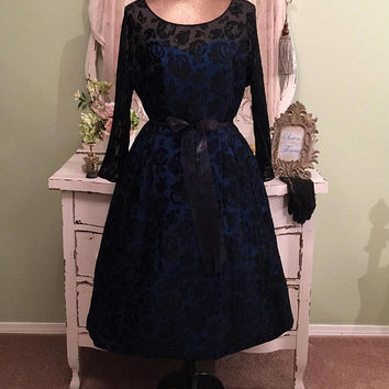 New Look 50s Dress, Black Rose Burnout Gown, Vintage Party Dress, Retro Hollywood Glam, Electric Blue Taffeta, Black Silk Formal Gown, L/XL