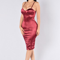 Stupid In Love Dress - Burgundy