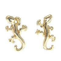 HEAVY SOLID 14K YELLOW GOLD SHINY HIGH POLISH HAWAIIAN GECKO STUD POST EARRINGS