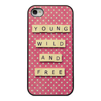 Quote Iphone cover - young wild and free Iphone 4 and 4s case - girly Iphone case - polka dots - quirky Iphone accessory