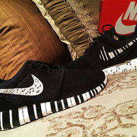 Nike Roshe Run personalized custom design, music theme, piano keys, ivory keys, black and white, personalized, hand painted MENS and WOMENS