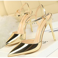 Hot style thin heel high heel shallow mouth pointed leather sexy word with women's sandals shoes