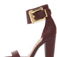 Bamboo Senza 17 Oxblood Buckled Ankle Strap Heels
