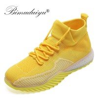 BIMUDUIYU Autumn Sneakers Women Mesh Flat Ladies Lace Up Stretch Fabric Platform Casual Shoes Breathable Female Sock Sneakers