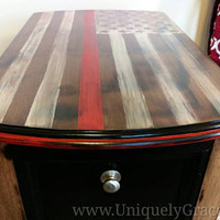 Thin Red Line Flag - Firefighter Support - Magazine/book end table or nightstand