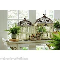 ST/2 LARGE SHABBY VINTAGE CHIC DISTRESSED WHITE & METAL DECORATIVE BIRDCAGES