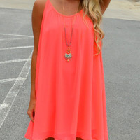 Pink Spaghetti Strap Cut-out Back Dress