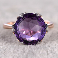 12mm Round Cut Amethyst Engagement Ring Diamond Wedding Ring 14k Rose Gold 6-Claws Prong set