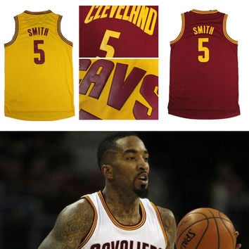Free Shipping Cheap #5 JR Smith Jersey Cleveland 2015 New REV 30 J.R Smith Basketball Jersey Embroidery Logos Yellow Jersey Red
