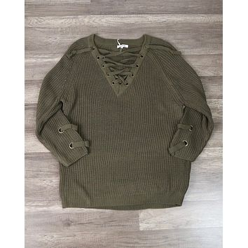 Final Sale - Lace Up Grommet Sweater in Olive