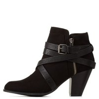 Black Belt-Wrapped Chunky Heel Booties by Charlotte Russe