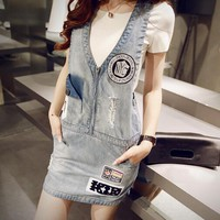 Fashion Embroidery Sleeveless V-Neck Vest Mini Dress Denim Back Strap Short Skirt