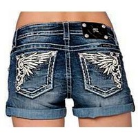 Miss Me Shorts-Wing Applique  (Size 25)