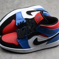 HCXX 19Aug 386 Air Jordan 1 Mid 554725-124 Skateboard Shoes Breathable Casual Sneakers