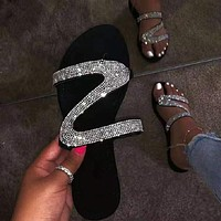 2020 Women Sandals Crystal bling Flat Sandals Flower Rhinestone Summer Shoes Woman Beach slippers big Size 35-43