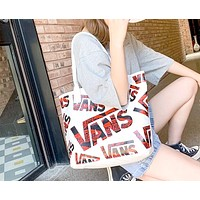 Vans 2019 new classic big logo Messenger bag shoulder Joker canvas Messenger bag white