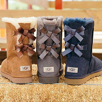 UGG Bow Leather Shoes Winter Half Boots Shoes
