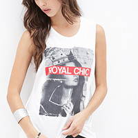 FOREVER 21 Royal Chic Muscle Tee Cream/Black