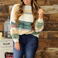 * Say It Ain't So Striped Oversized Sweater: Ivory/Mustard/Olive