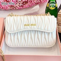 MIU MIU Fashion New Leather Chain Crossbody Bag Shoulder Bag White
