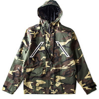 Camouflage Print Pocket Zip Up Long Sleeve Hooded Coat