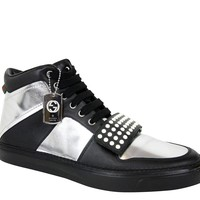 Gucci Limited Edition Silver/Black Leather High top Sneaker 376194 1064