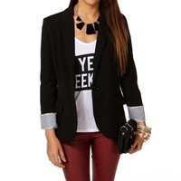 Sale-black Striped Boyfriend Blazer