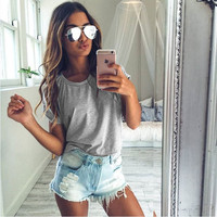 Women's Fashion Slim Pullover Round-neck Casual Short Sleeve Stylish Fashion T-shirts = 5895699393
