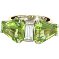 Peridot Diamond Modernist Vintage Cockatil Ring 14 Karat Gold Estate Heirloom 7