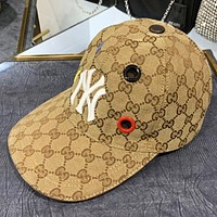 GUCCI & NY New fashion embroidery more letter fisherman hat cap Khaki