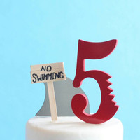 Shark Cake Topper Kit, No Swimming, DIY Birthday Cake, overthetopcaketopper