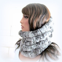 Faux Fur Snood Infinity Scarf Hoodie Cowl Winter Scarf Softest Luxe Washable Pale Frosted Grey Fake Fur Neckwarmer Holiday Fashion for Her