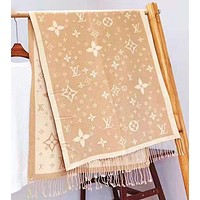 LV Louis Vuitton Autumn And Winter Fashion New Monogram Print Tassel Scarf Women