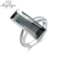 Mytys Grey Color Rectangle Crystal Ring Square Geometric Fashion Jewelry Prom Party Original Design Big Crystal Ring R1946