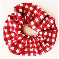 Large Scrunchie, Red Gingham