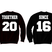 """Personalized Couples """"Together Since"""" (Black Sweatshirt)"""