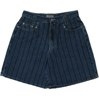 Cezna Eighties Vintage Shorts - 80s -Cezna- Womens blue and black pinstripe print cotton denim jean shorts with five pockets and button/zip closure.