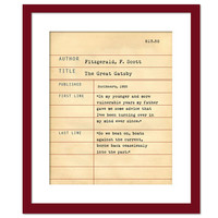 The Great Gatsby by F. Scott Fitzgerald - Library Card Art Print - Book Lovers Poster - Library Poster - Book Gift - Dewey Decimal System